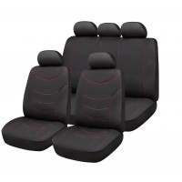 SET OF UNIVERSAL SEAT COVERS CURVE BLACK