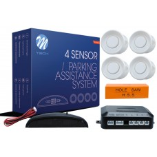 4-sensor parking assist system with digital display - WHITE