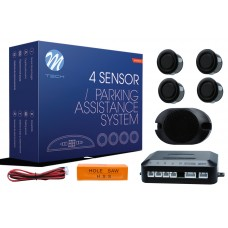 4-sensor parking assist system with buzzer 4X - BLACK